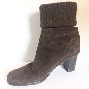 Donna Karan New York Suede Knit Ankle Boots Italy